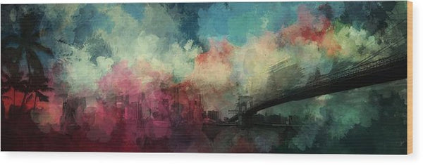 Colorful Mixed Media Bridge Painting - Wood Print from Wallasso - The Wall Art Superstore