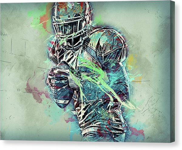 Colorful Modern Football Player - Canvas Print from Wallasso - The Wall Art Superstore