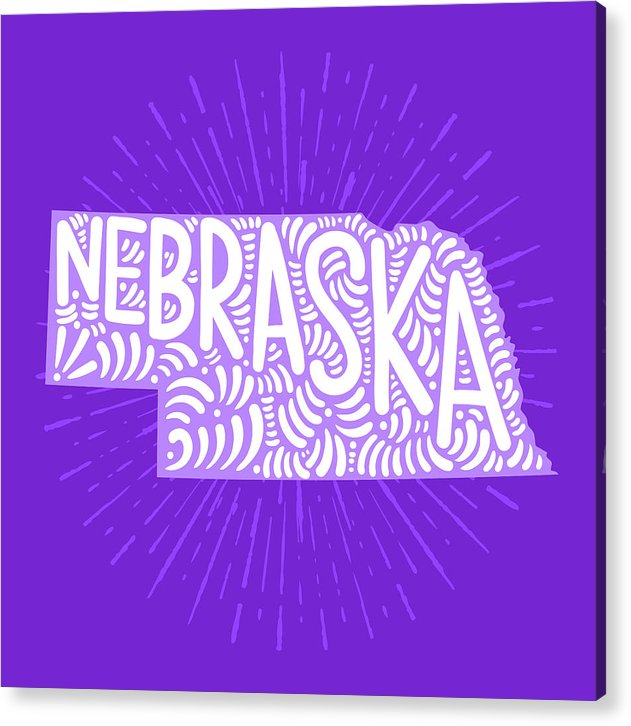 Colorful Nebraska State Shape Doodle - Acrylic Print from Wallasso - The Wall Art Superstore