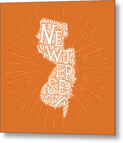 Colorful New Jersey State Shape Doodle - Metal Print from Wallasso - The Wall Art Superstore