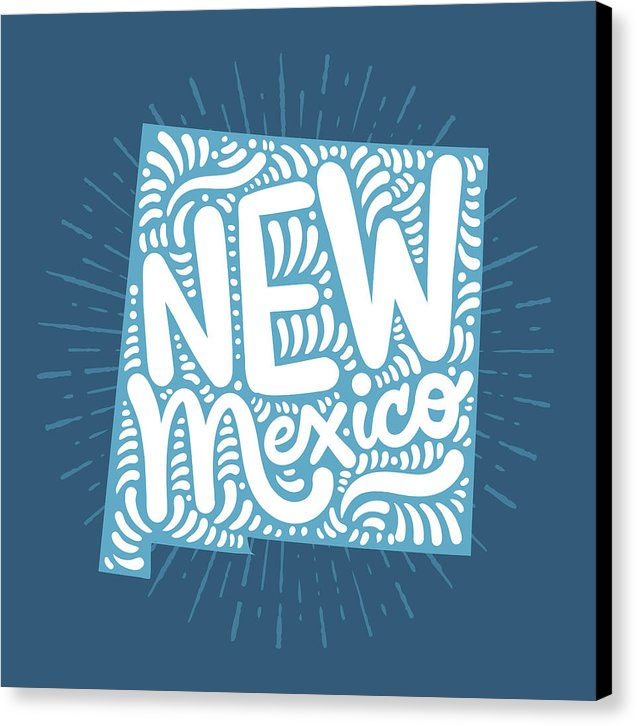 Colorful New Mexico State Shape Doodle - Canvas Print from Wallasso - The Wall Art Superstore