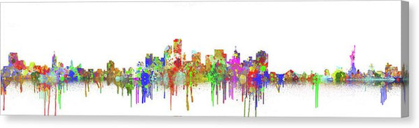 Colorful New York City Skyline Painting Panoramic - Canvas Print from Wallasso - The Wall Art Superstore