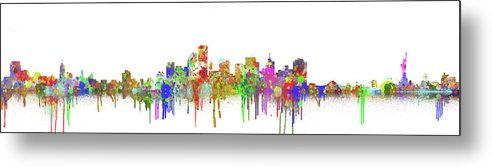 Colorful New York City Skyline Painting Panoramic - Metal Print from Wallasso - The Wall Art Superstore
