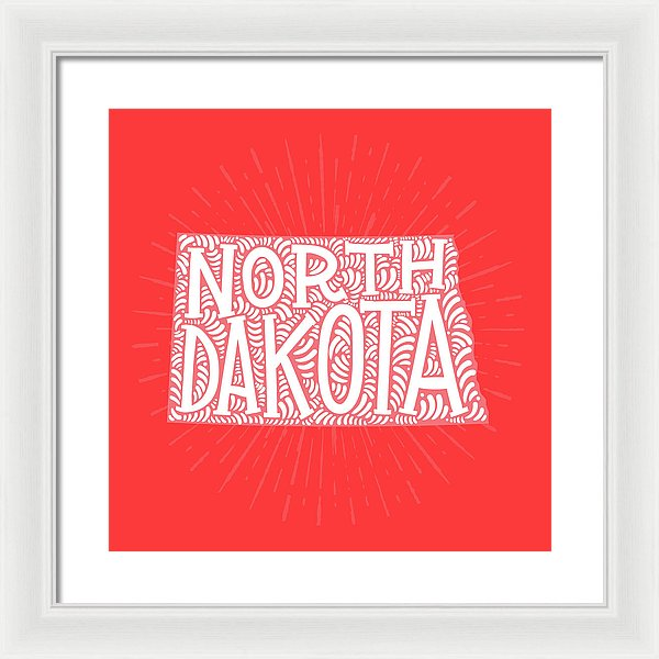 Colorful North Dakota State Shape Doodle - Framed Print from Wallasso - The Wall Art Superstore