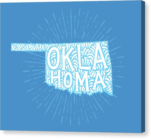 Colorful Oklahoma State Shape Doodle - Canvas Print from Wallasso - The Wall Art Superstore