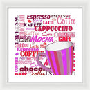 Colorful Pink Coffee Sign - Framed Print from Wallasso - The Wall Art Superstore