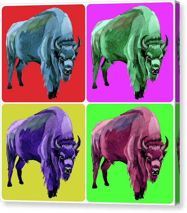 Colorful Pop Art Buffalo Collage - Canvas Print from Wallasso - The Wall Art Superstore