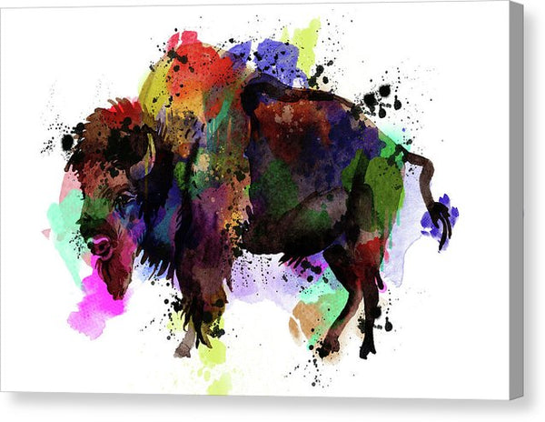 Colorful Pop Art Buffalo - Canvas Print from Wallasso - The Wall Art Superstore
