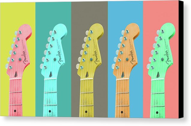 Colorful Pop Art Guitar Heads - Canvas Print from Wallasso - The Wall Art Superstore