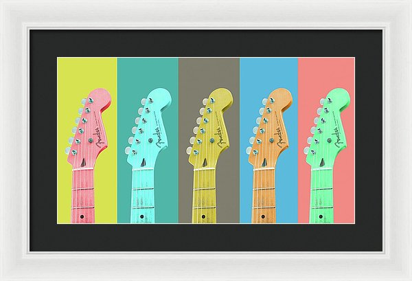 Colorful Pop Art Guitar Heads - Framed Print from Wallasso - The Wall Art Superstore