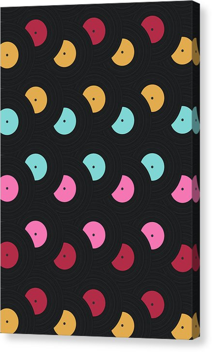 Colorful Pop Art Vinyl Record Pattern - Canvas Print from Wallasso - The Wall Art Superstore