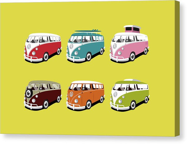 Colorful Pop Art Volkswagen Bus Design - Canvas Print from Wallasso - The Wall Art Superstore