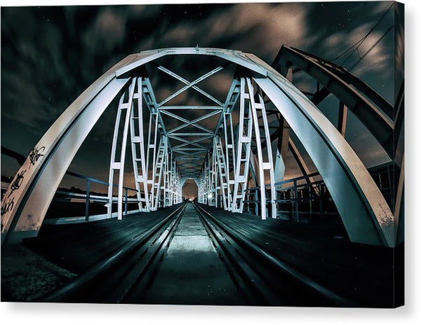 Colorful Railroad Bridge At Night - Canvas Print from Wallasso - The Wall Art Superstore