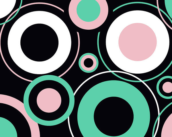Colorful Retro Bauhaus Circles - Art Print from Wallasso - The Wall Art Superstore