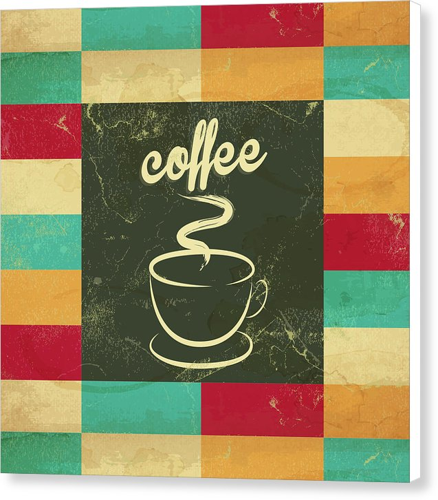 Colorful Retro Coffee Cup Design, Square - Canvas Print from Wallasso - The Wall Art Superstore