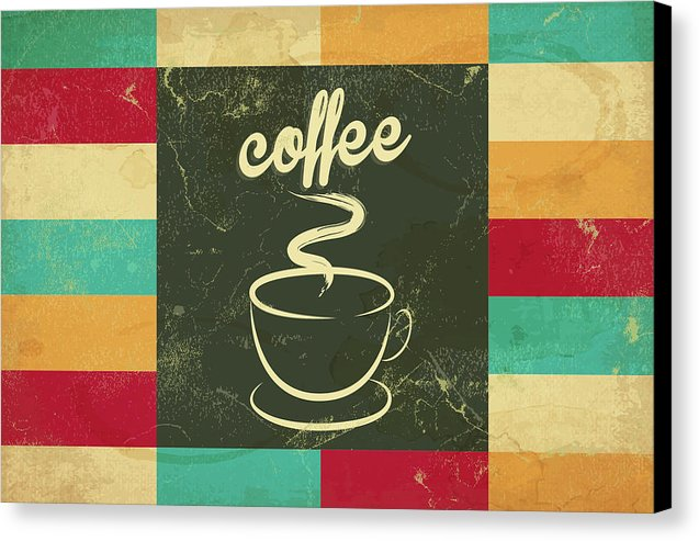 Colorful Retro Coffee Cup Design - Canvas Print from Wallasso - The Wall Art Superstore
