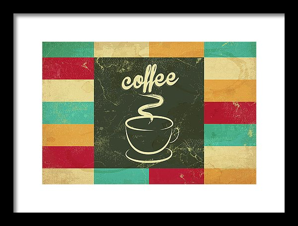 Colorful Retro Coffee Cup Design - Framed Print from Wallasso - The Wall Art Superstore