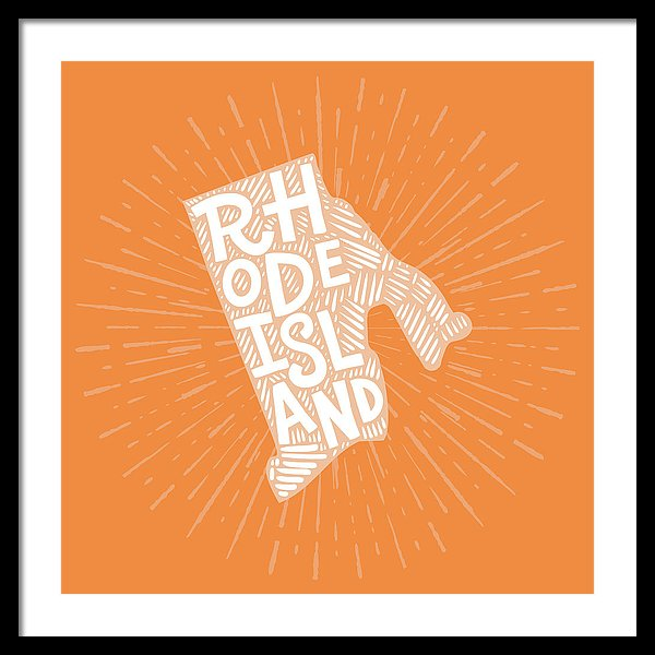Colorful Rhode Island State Shape Doodle - Framed Print from Wallasso - The Wall Art Superstore