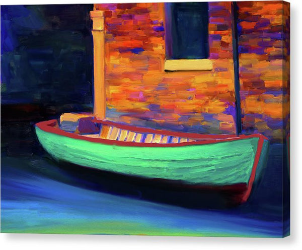 Colorful Rowboat Painting - Canvas Print from Wallasso - The Wall Art Superstore