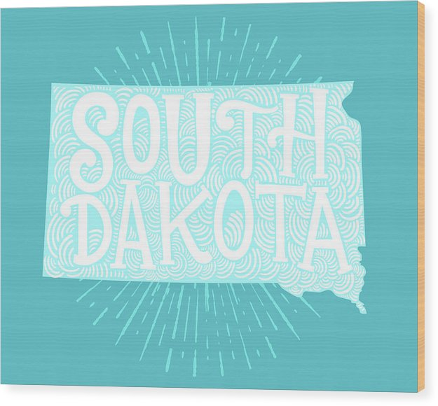 Colorful South Dakota State Shape Doodle - Wood Print from Wallasso - The Wall Art Superstore