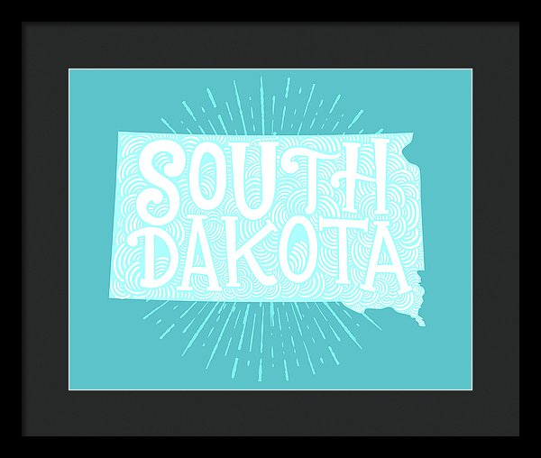 Colorful South Dakota State Shape Doodle - Framed Print from Wallasso - The Wall Art Superstore
