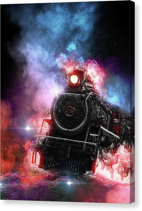 Colorful Steam Engine Railroad Design - Canvas Print from Wallasso - The Wall Art Superstore