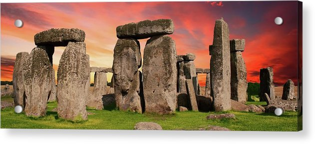 Colorful Stonehenge Sunset Panorama - Acrylic Print from Wallasso - The Wall Art Superstore