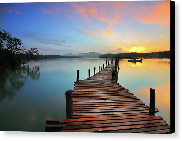 Colorful Sunrise Boardwalk - Canvas Print from Wallasso - The Wall Art Superstore