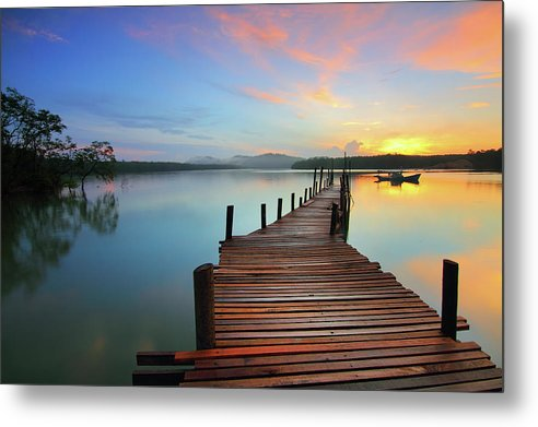 Colorful Sunrise Boardwalk - Metal Print from Wallasso - The Wall Art Superstore