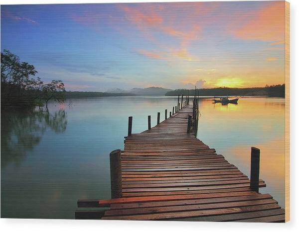 Colorful Sunrise Boardwalk - Wood Print from Wallasso - The Wall Art Superstore