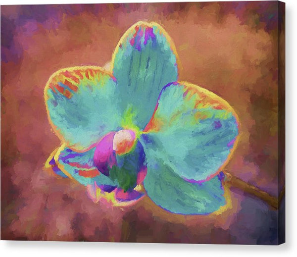 Colorful Teal Flower Painting - Canvas Print from Wallasso - The Wall Art Superstore