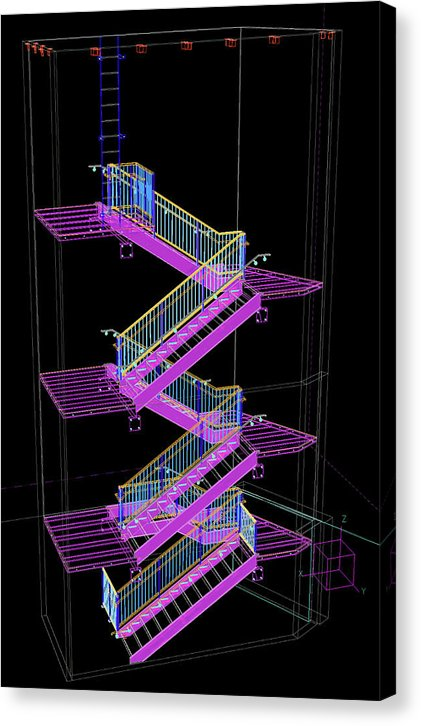Colorful Technical Staircase Illustration - Canvas Print from Wallasso - The Wall Art Superstore