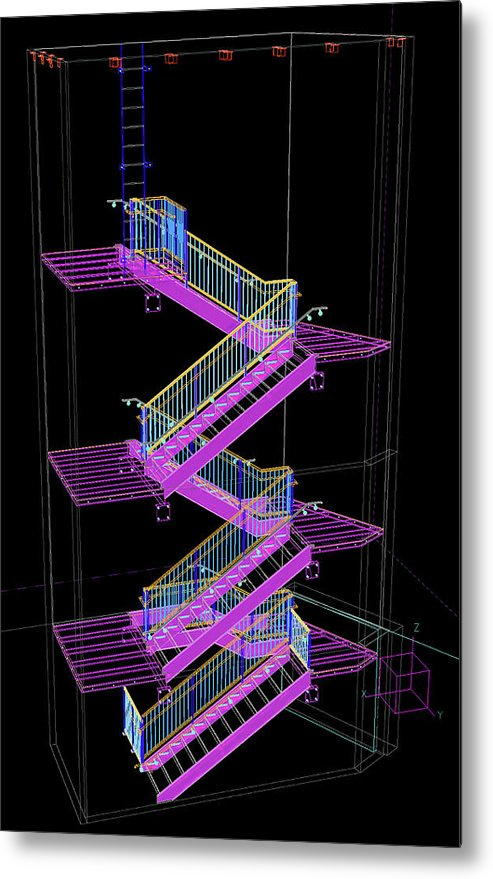 Colorful Technical Staircase Illustration - Metal Print from Wallasso - The Wall Art Superstore