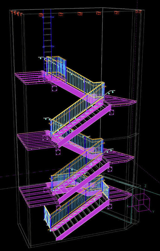 Colorful Technical Staircase Illustration - Art Print from Wallasso - The Wall Art Superstore