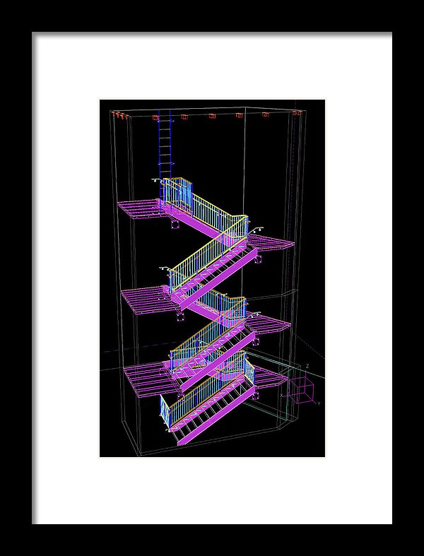 Colorful Technical Staircase Illustration - Framed Print from Wallasso - The Wall Art Superstore