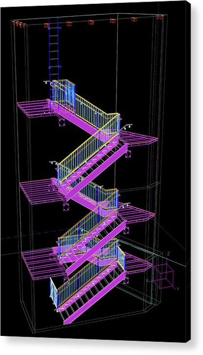 Colorful Technical Staircase Illustration - Acrylic Print from Wallasso - The Wall Art Superstore