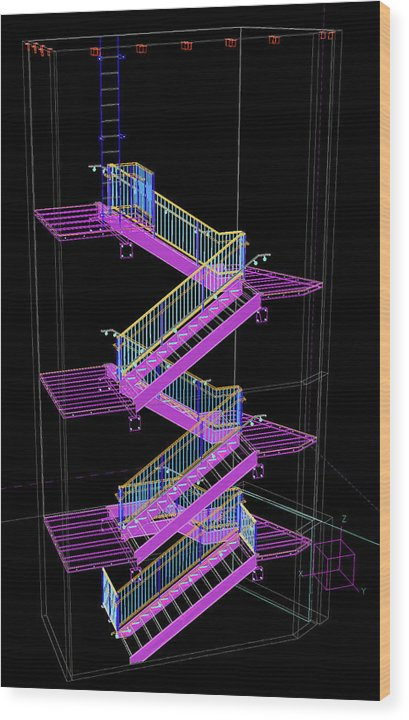 Colorful Technical Staircase Illustration - Wood Print from Wallasso - The Wall Art Superstore