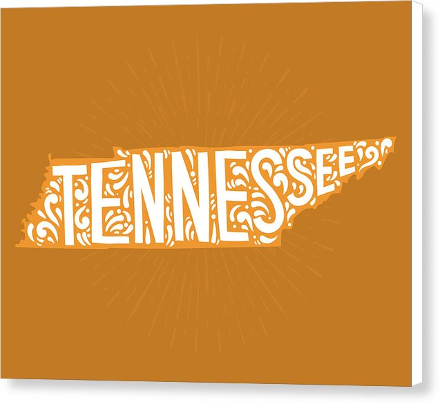 Colorful Tennessee State Shape Doodle - Canvas Print from Wallasso - The Wall Art Superstore
