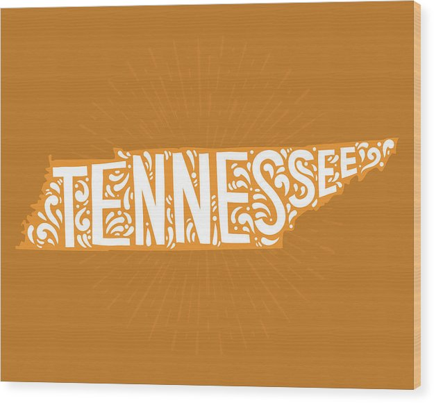 Colorful Tennessee State Shape Doodle - Wood Print from Wallasso - The Wall Art Superstore