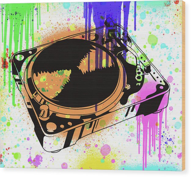 Colorful Turntable Street Art Graffiti Design, 3 of 3 Set - Wood Print from Wallasso - The Wall Art Superstore