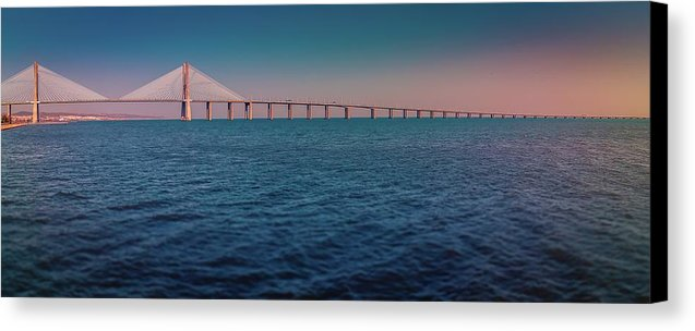 Colorful Vasco De Gama Bridge Panoramic - Canvas Print from Wallasso - The Wall Art Superstore