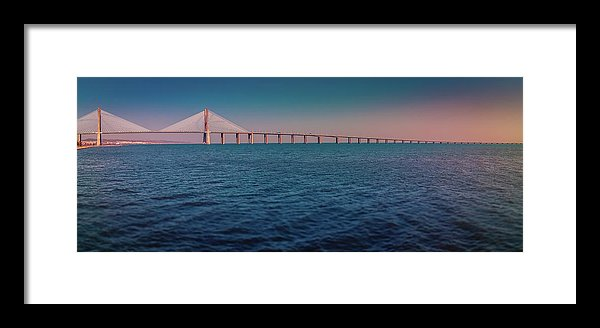 Colorful Vasco De Gama Bridge Panoramic - Framed Print from Wallasso - The Wall Art Superstore