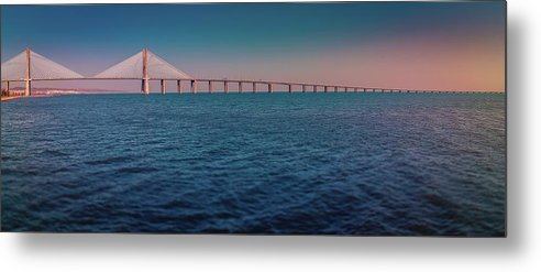 Colorful Vasco De Gama Bridge Panoramic - Metal Print from Wallasso - The Wall Art Superstore