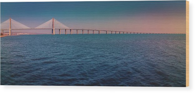 Colorful Vasco De Gama Bridge Panoramic - Wood Print from Wallasso - The Wall Art Superstore