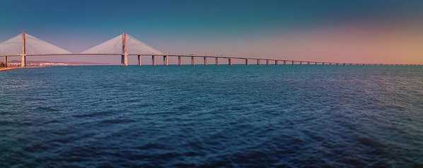 Colorful Vasco De Gama Bridge Panoramic - Art Print from Wallasso - The Wall Art Superstore