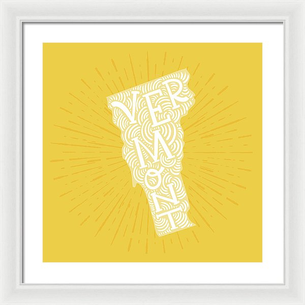 Colorful Vermont State Shape Doodle - Framed Print from Wallasso - The Wall Art Superstore