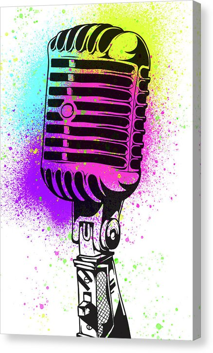 Colorful Vintage Microphone Street Art Graffiti Design - Canvas Print from Wallasso - The Wall Art Superstore