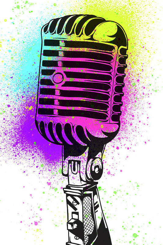 Colorful Vintage Microphone Street Art Graffiti Design - Art Print from Wallasso - The Wall Art Superstore