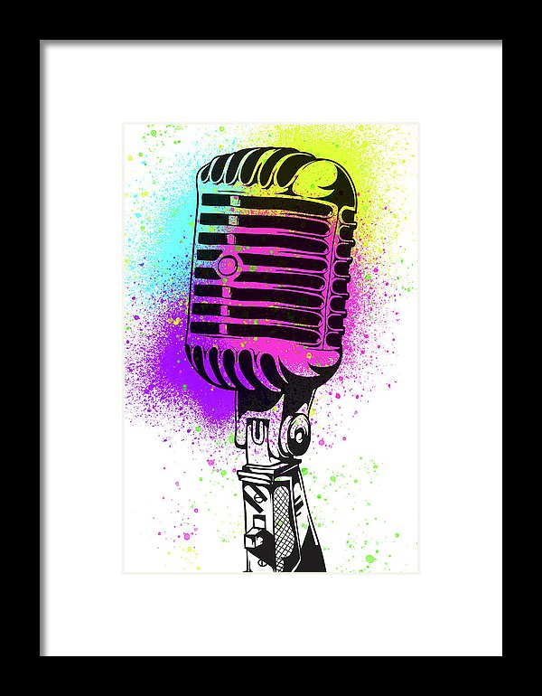 Colorful Vintage Microphone Street Art Graffiti Design - Framed Print from Wallasso - The Wall Art Superstore