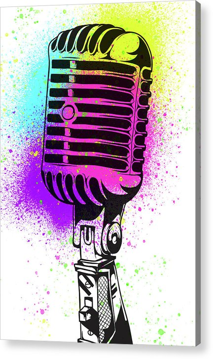 Colorful Vintage Microphone Street Art Graffiti Design - Acrylic Print from Wallasso - The Wall Art Superstore